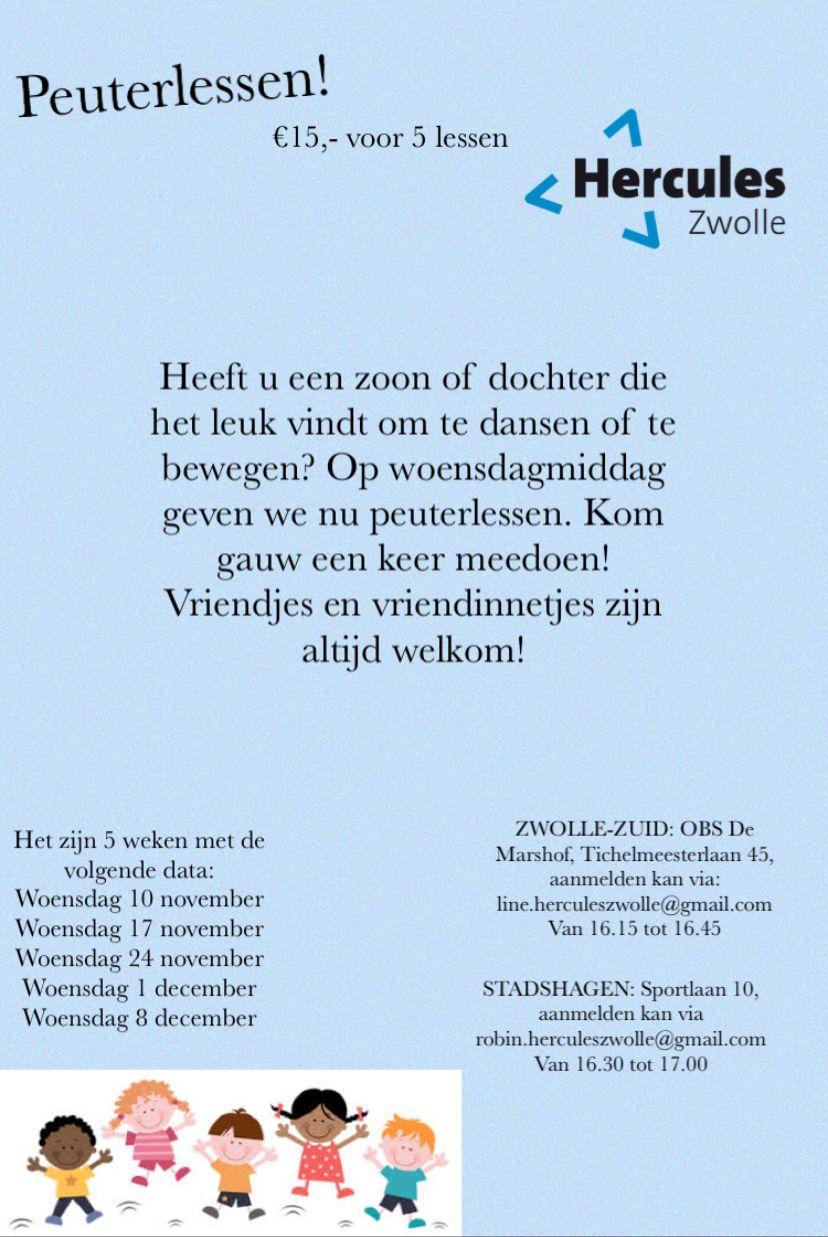 De peuterlessen gaan 10 november weer van start